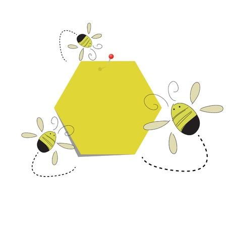 Post-it notitie honingraat papier en de bijen Stock Illustratie