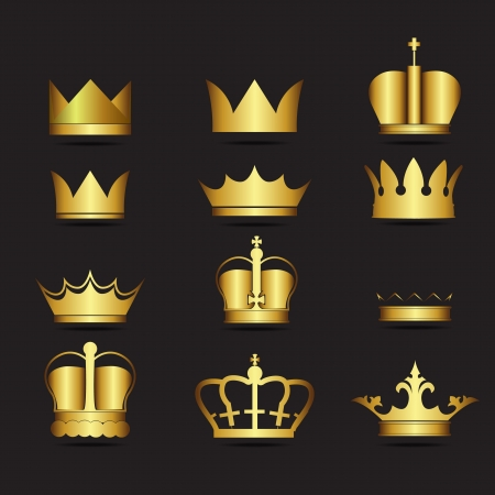 Gold 12 Crown Icons Set Vector