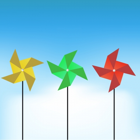 wind wheel: colorful windmill vector