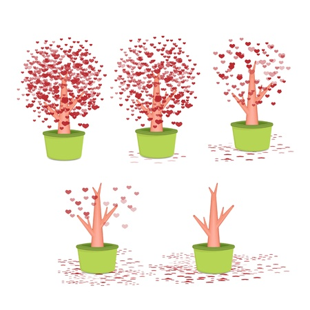 Valentine tree, love, leaf from hearts on green pot Vector