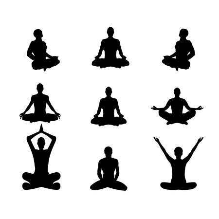 yoga meditation: Set of vector illustration Basic meditation Poses