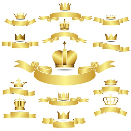 gold crown: Set of vector golden crown with curves banner
