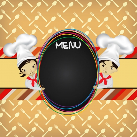 gourmet dinner: chef with menu board