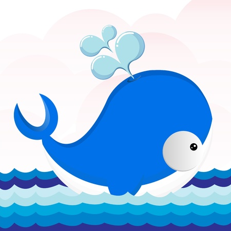 The beautiful dolphin swims on sea  Vector
