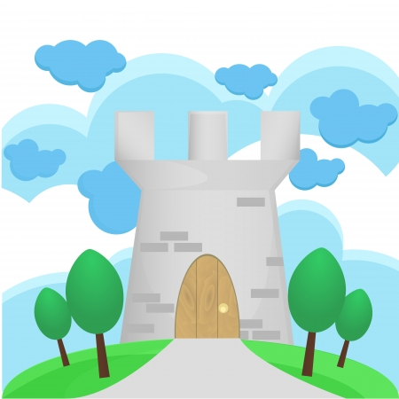 Illustration of Medieval tower with big cloud Vector