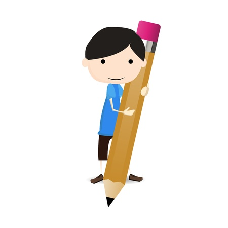 A boy draws with pencils Stock Vector - 20364796