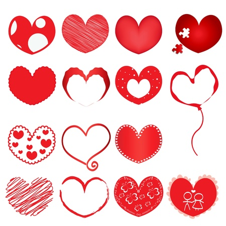 hearts set for wedding and valentine design Stock Vector - 20457426