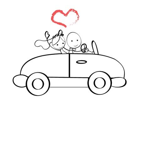 Illustratie doodle De bruid en bruidegom rijden in een auto