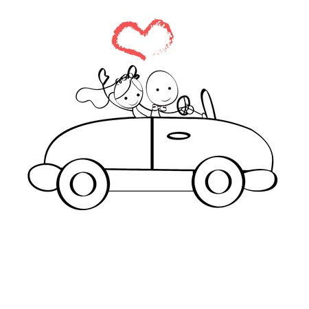 enamorados caricatura: Ilustraci�n Doodle de la novia y el novio viajaban en un coche