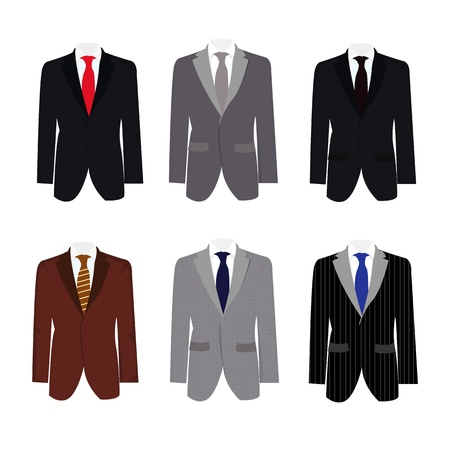 formal attire: set of 6 illustration handsome business suit graphic Illustration