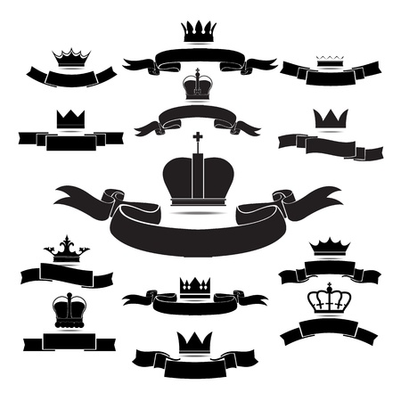 crest: king and queen crown silhouette icon set isolated on white background graphic
