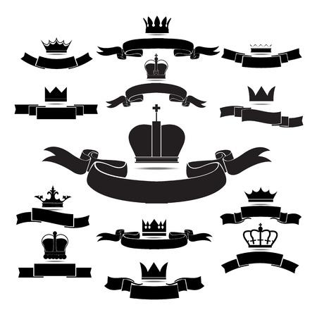 crown silhouette: re e la regina icona silhouette corona insieme isolato su sfondo bianco grafica Vettoriali