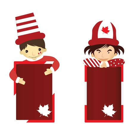 Cartoon ofman and girl in Canada Day Illustration