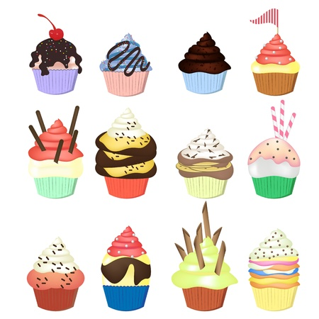 Set of beautiful celebratory cupcakes Vector