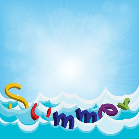 Summer text on the beach Stock Vector - 20581412