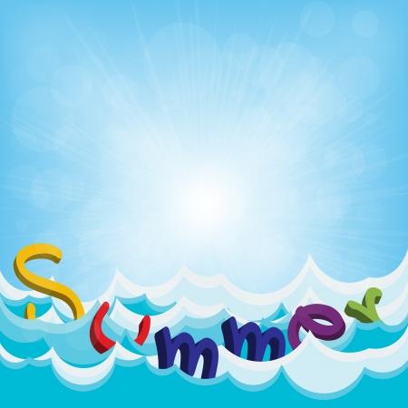 Summer text on the beach Stock Vector - 20581412