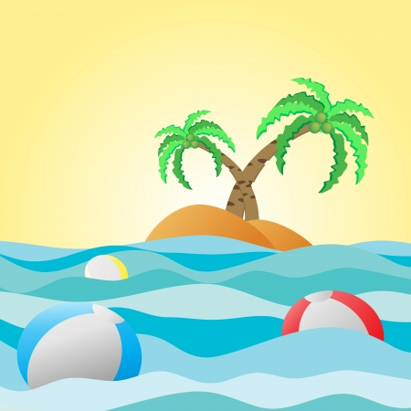 Travel background, palm, ball in summer holiday  Illustration