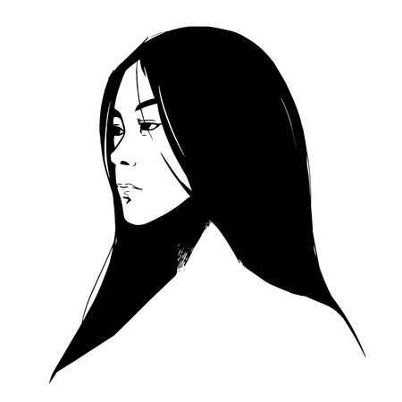 drawing close-up beautiful girl on white background graphic vector eps10