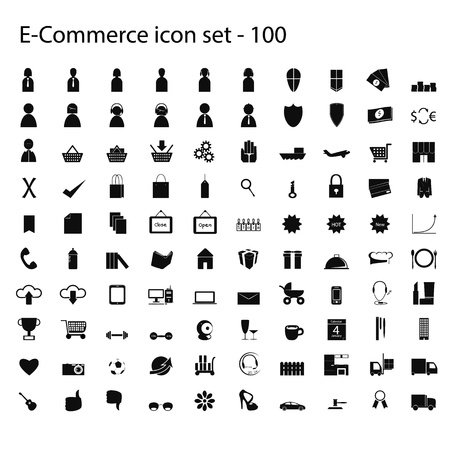 100 ecommerce icons set of vector graphic icon eps 10 ,sign and symbol Vector