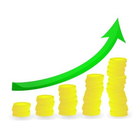 Financial diagram golden increase an green arrows on coins concept graphic vector eps10 Illustration