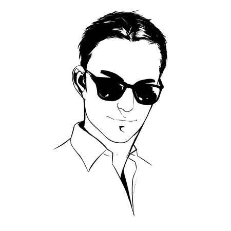 sexy men: illustration portrait of a handsome young man on white background graphic vector eps10