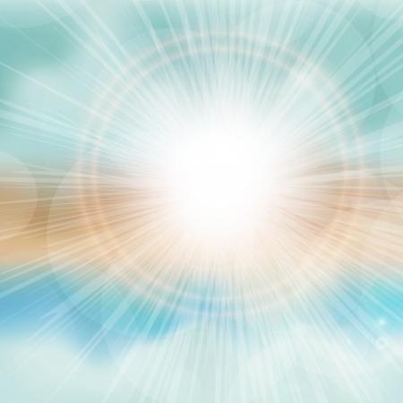 Sea sunset with bright sun, light on lens. EPS10 vector. Illustration