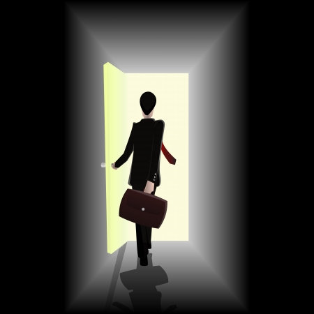 toward: businessman walking towards open the door showing opportunity graphic