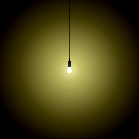 hanging bulb lights turned over on black background graphic  Vector