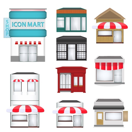 cafe shop: ector illustration of strip mall shopping center