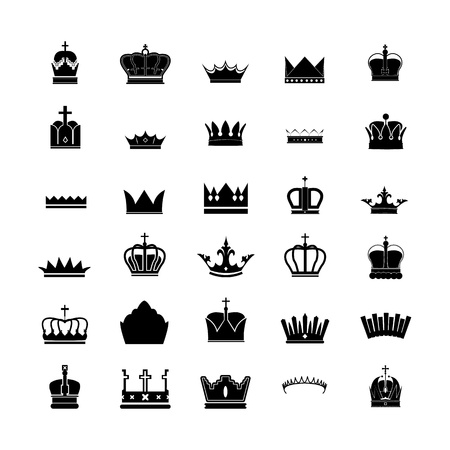 set of 30 silhouette royal crown collection 向量圖像