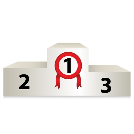 clipart podium: White podium with numbers  Vector illustration