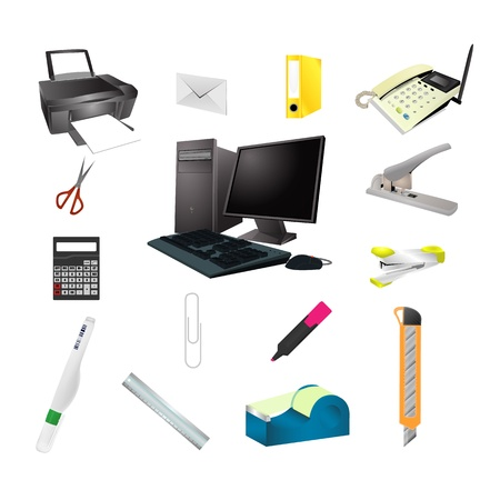 Office tools realistic icon vector Stock Vector - 21637869