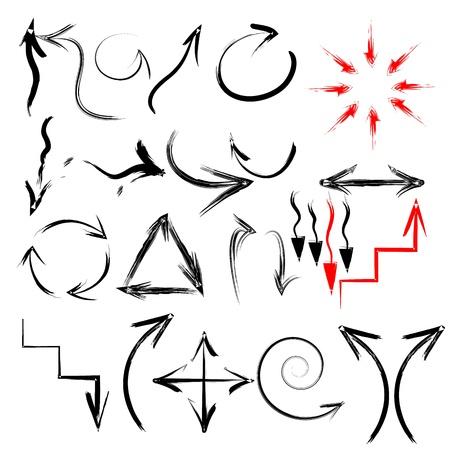 ink sketch: Nero vettore pennello dipinte a mano colpo frecce raccolta su sfondo nero Vettoriali