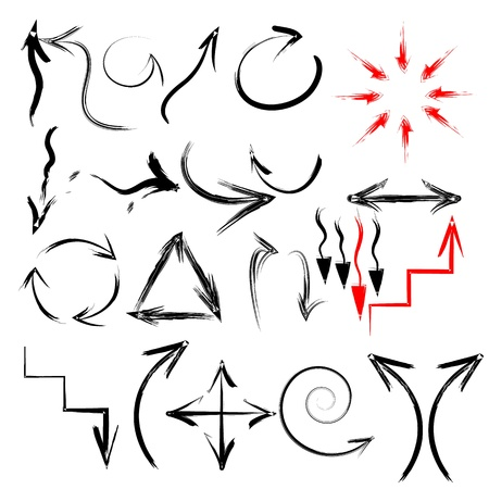 Black vector hand-painted brush stroke arrows collection on black background