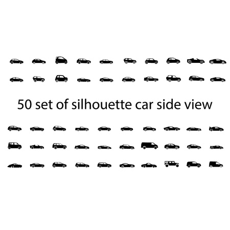 mini car: Black silhouette car side view isolated graphic vector