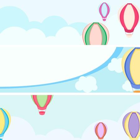 niños con pancarta: globo de aire caliente en el cielo