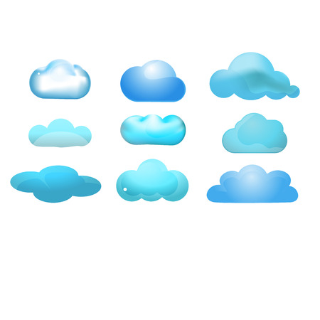 Cloud glossy icon set of 9  Cloud