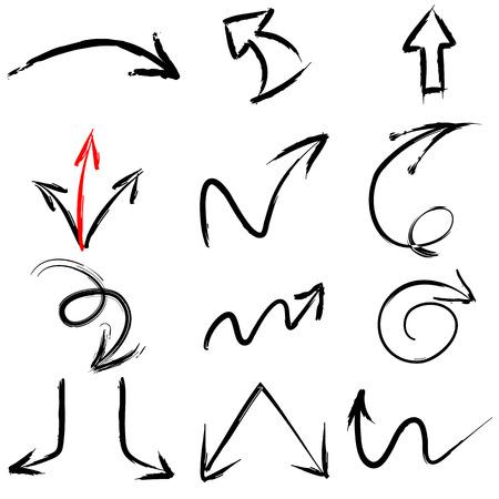 Een collectie van zwarte grungy vector abstracte hand getekende penseel en beroerte pijlen