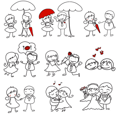 cartoon couple doodle with red heart shape Illustration