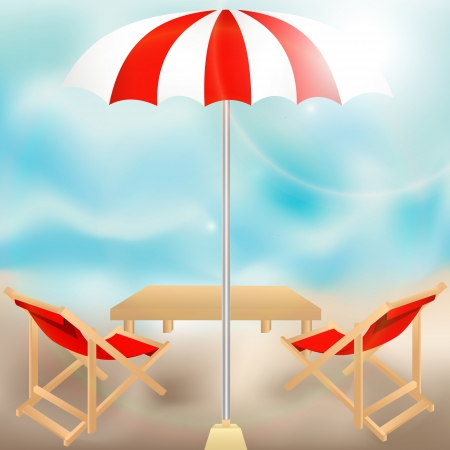 Relaxing scene on a breezy day at the tropical beach; two deck chair and umbrella Vector
