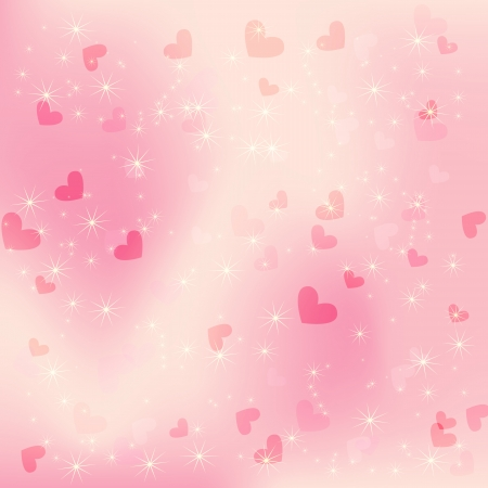 Vector background with beautiful pink hearts Vector