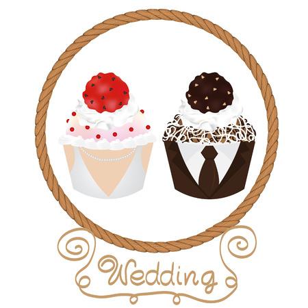 cupcake wedding couple Illustration
