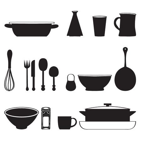 batidora: Herramientas de la cocina los iconos silueta sin patrón ilustración vectorial Vectores