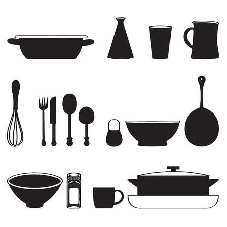 beater: Kitchen tools icons Silhouette seamless pattern Vector illustration