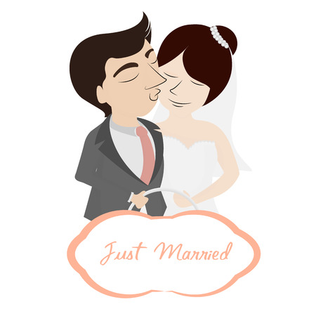Wedding couple,dress and card  Vector