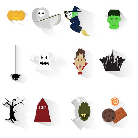 clipart frankenstein: Set of Halloween images - vector illustration
