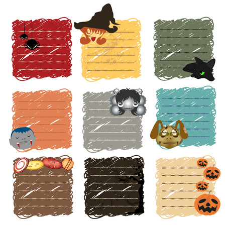 Halloween Paper notes  Scrapbooking elements