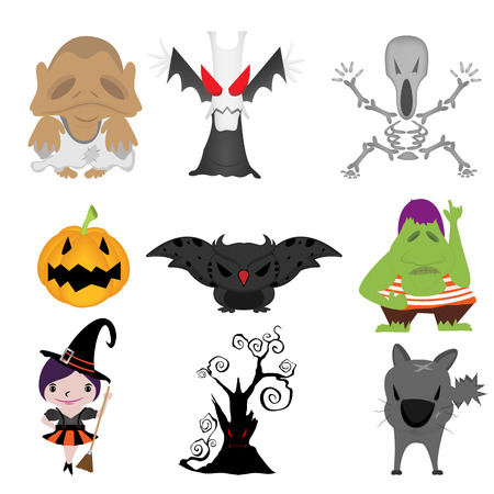 Cartoon Halloween elements  Each in a separate layer for easy editing  Vector