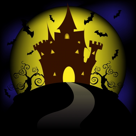 Happy Halloween house scary on black background, vector illustration Vector