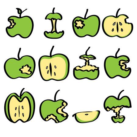 noodle drawing green bitten apple
